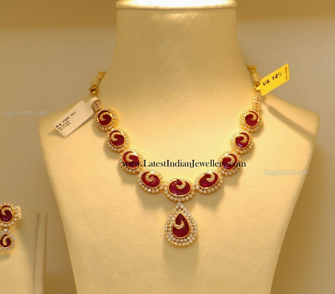 Stylish Ruby CZ Gold Necklace