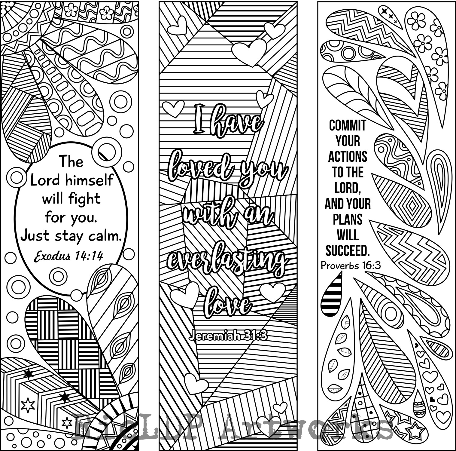 RicLDP Artworks: Six Bible Verse Coloring Bookmarks