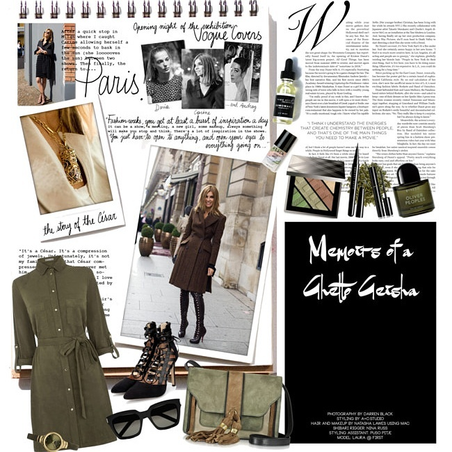 Jelena Zivanovic Instagram @lelazivanovic.Glam fab week.Olive green shirt dress,black laceup shoes.Best Polyvore fashion sets.