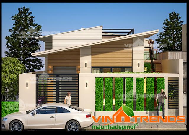 Thiết kế biệt thự nhà vườn 1 tầng trong khuôn vườn xanh mát hoa rộ bốn mùa
