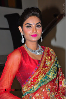 Model Sharon Fernandes Stills in Red Saree at Trendz Exhibition Launch  0021.JPG