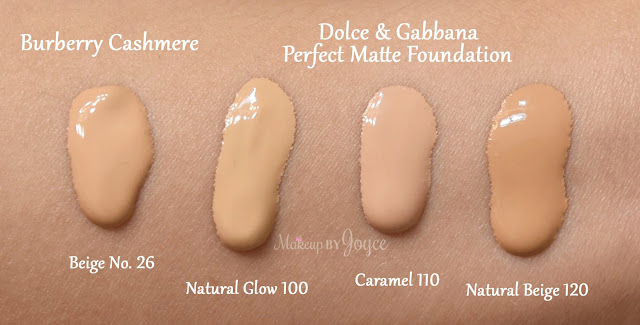 Dolce & Gabbana Perfect Matte Foundation Natural Glow 100 Caramel 110 Natural Beige 120 Swatches