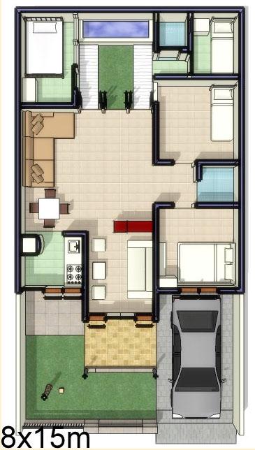 Denah Rumah Minimalis Lahan 8 x 15 Meter