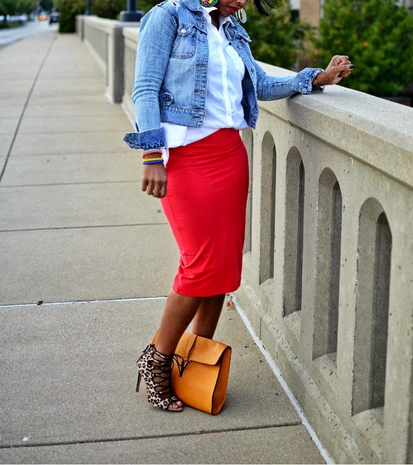红色裙子/牛仔夹克