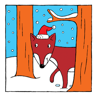 illustration of a fox in the snow