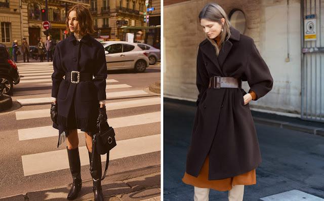 Девушки в пальто с широким кожаным ремнем