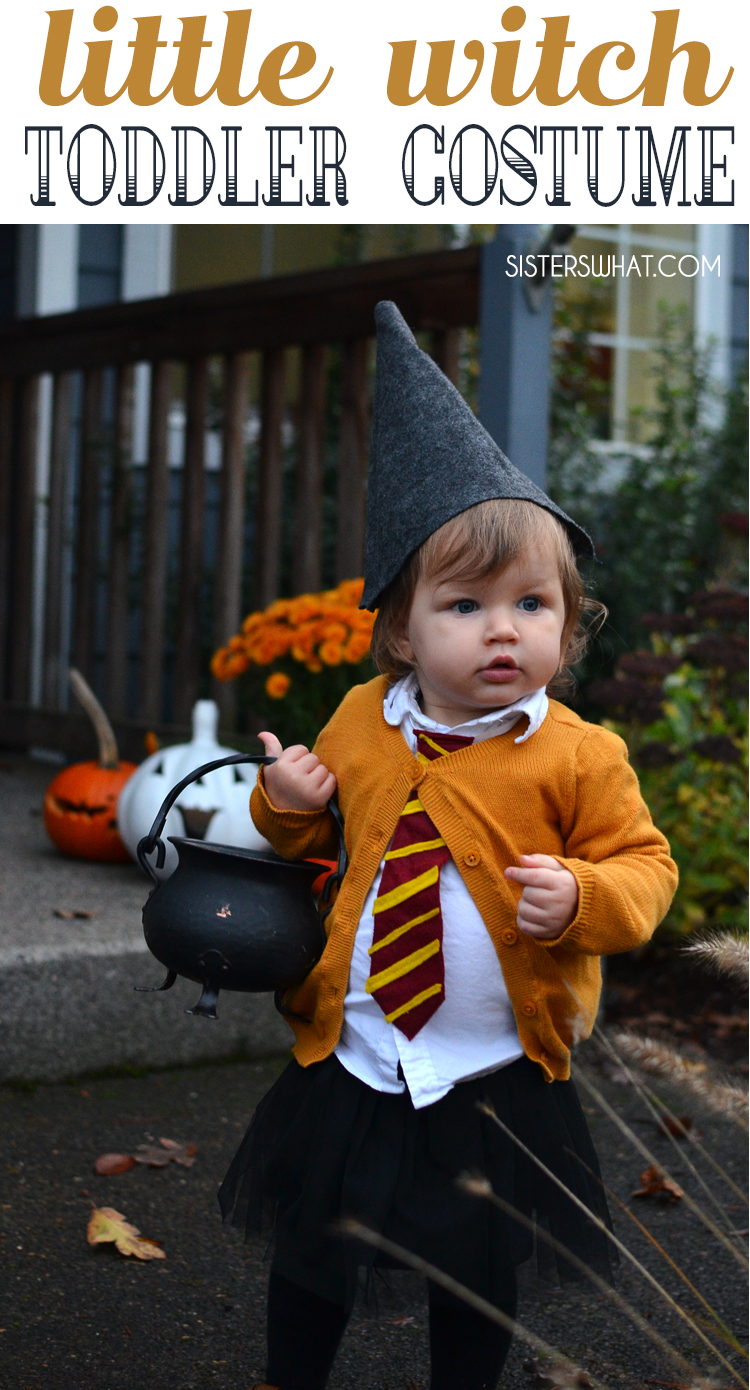 Easy DIY Little Witch Hermione Baby Girl Halloween Costume  sc 1 st  Sisters What! & Easy DIY Little Witch Hermione Toddler Halloween Costume - Sisters ...