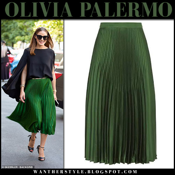 Olivia Palermo in green pleated midi skirt reiss and black top fashion week outfits september 21