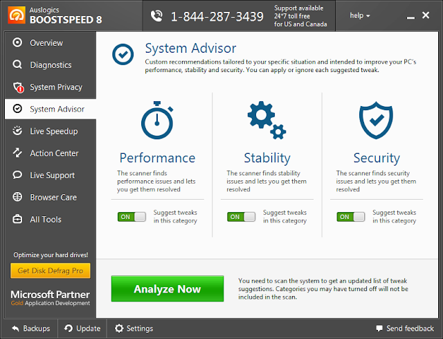 System Advisor GUI - Auslogics Boost Speed 8