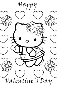 Hello kitty  Coloring Pages for Valentines Day 2016