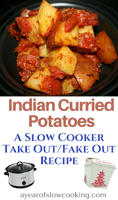 Make Indian food easily at home by using your crockpot slow cooker! This vegetarian and vegan potato side dish is easily made by using pantry staples and is a fun and delicious side dish your whole family will enjoy!