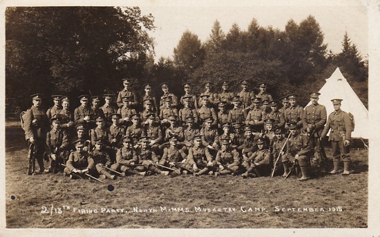 Photograph of 2/13th Firing Party, North Mimms Musketry Camp. September 1915. Unposted and unknown publisher. Image from Peter Miller's collection