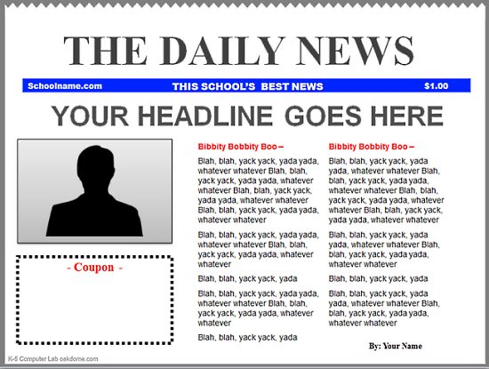 download simple newspaper template download free office templates