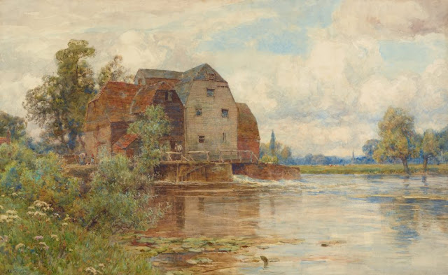 "Artwork, XIX century art, watercolours, ""The mill pool, Hemingford Grey"" by Sir Ernest Albert Waterlow, 1902-1904."