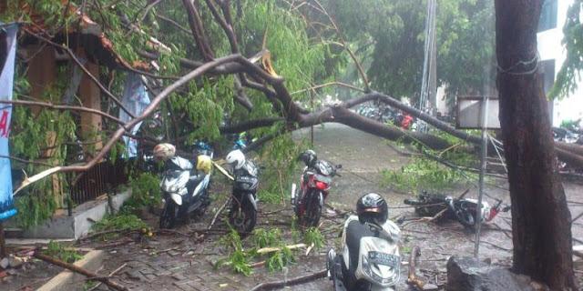 Saat Hujan Es Serta Angin Kencang Menerjang Surabaya