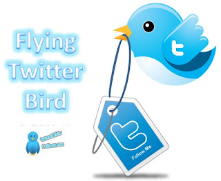 Flying Twitter Bird on Blogger