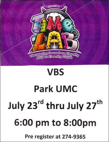 7-23 through 7-27 Park UMC VBS
