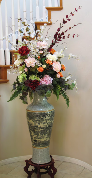 Fake flower arrangements home design ideas tall silk flower arrangements mightylinksfo