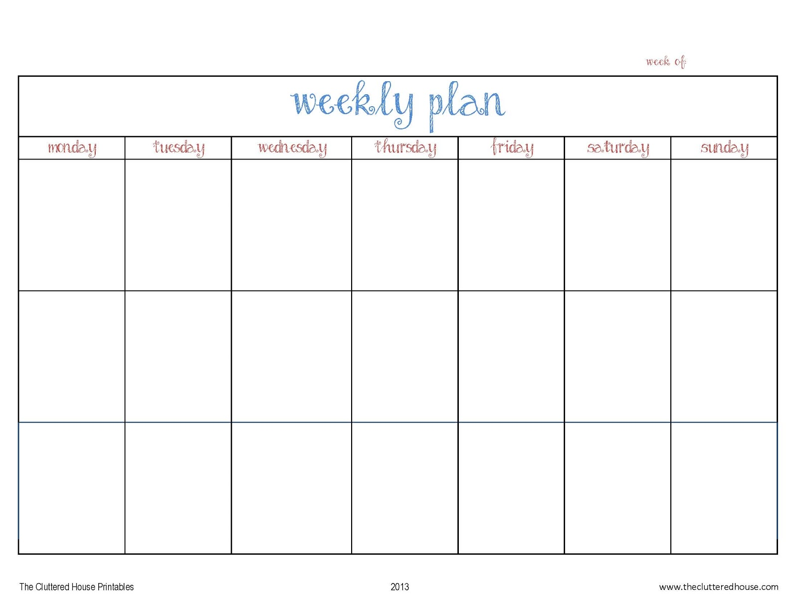 One Week Planner Template the cluttered house printable it s – Template for Weekly Planner