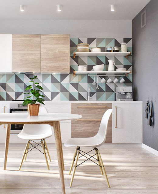 cozinha com prateleira  armarios brancos e madeira piso madeira clara azulejo geometrico