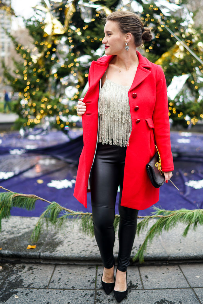 Krista Robertson, Covering the Bases, Travel Blog, NYC Blog, Preppy Blog, Fashion Blog, Travel, Fashion Blogger, What to Wear for New Year's Eve, New Year's Eve Style Inspiration, How to dress for your New Year's Celebration, Event Outfits, Leather Pants, Red Coats, Winter Style