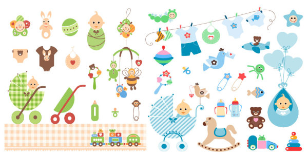 Elementos baby shower vectores