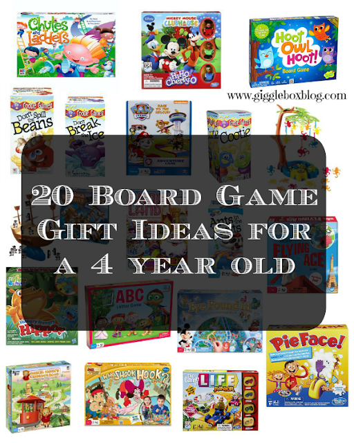 list of 20 board game ideas for a 4 year old's Christmas gift or birthday gift,