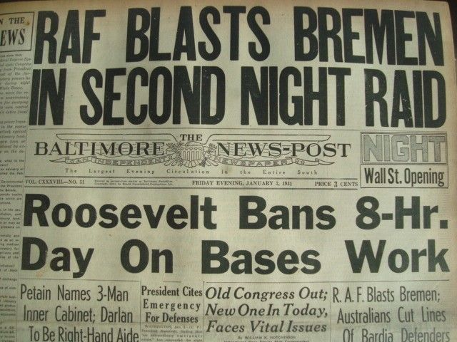 3 January 1941 worldwartwo.filminspector.com Baltimore News-Post headlines