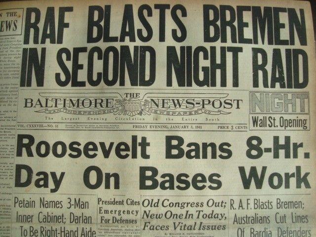 3 January 1941 worldwartwo.filminspector.com Baltimore News-Post headlines