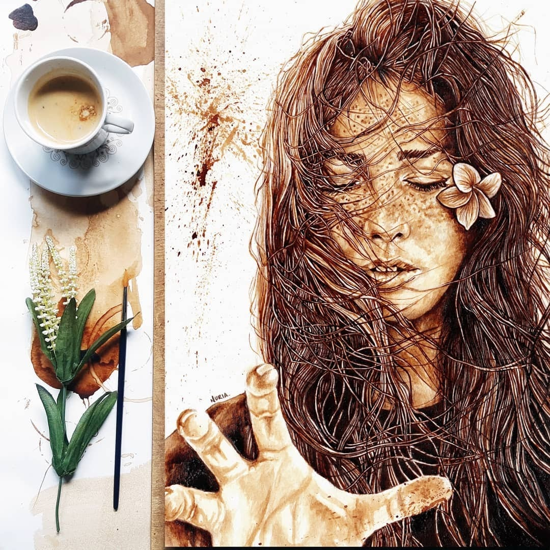 01-Maybe-touch-the-sky-Nuria-Salcedo-Detailed-Portrait-Paintings-Using-Coffee-www-designstack-co