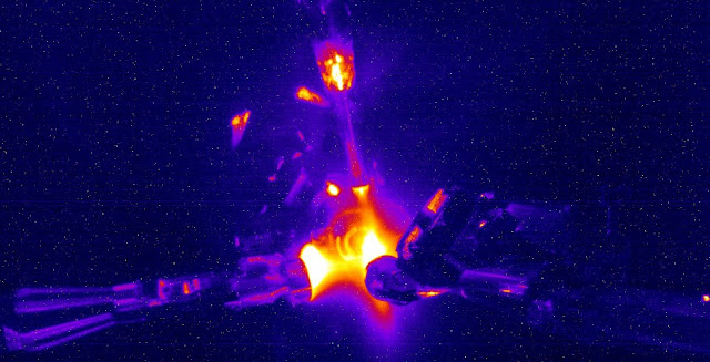Shot-time image from a June 1 NIF experiment simulating stellar nucleosynthesis fusion reactions. Credit: LLNL