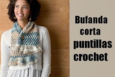 Bufanda corta crochet con puntillas