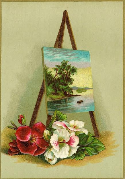 Antique Flower Clip Art Victorian Scrap Card With