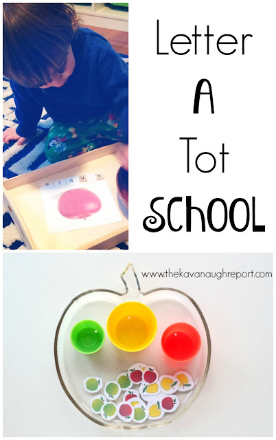 Letter A tot school trays! To teach phonics and introduce the letter A here are some tot school tray ideas for older toddlers.
