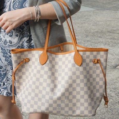 Louis Vuitton damier Azur MM neverfull tote bag with paisley print dress | awayfromtheblue