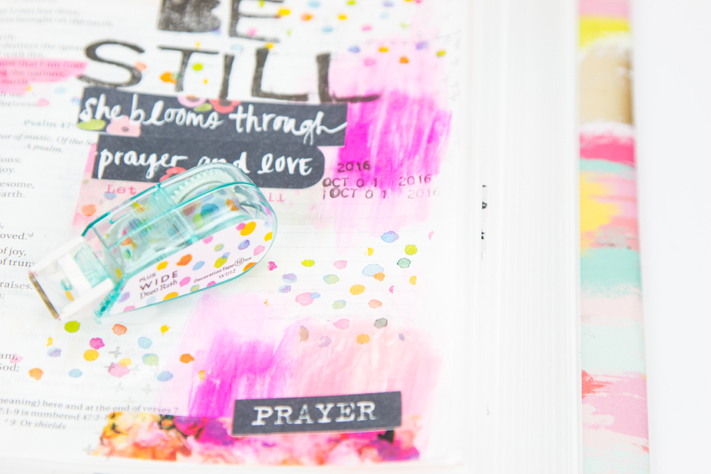 Bible journaling page how to take time to be still by @createoften