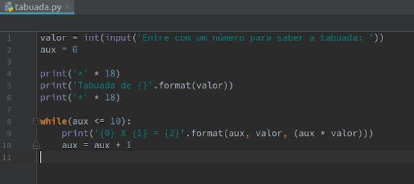 Código do script da tabuada