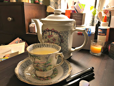 February 3, 2018 Sitting at my desk enjoying the fire and a cup of tea.