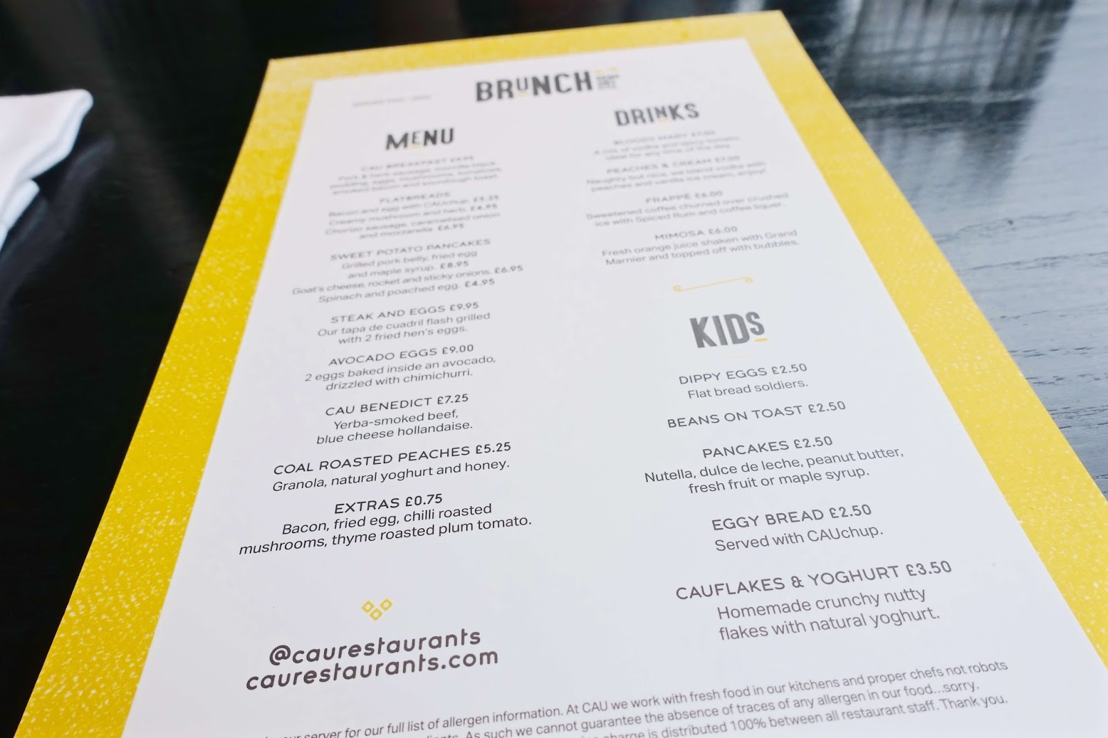 New brunch menu at CAU steakhouse