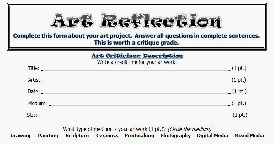 Art Room 104 Upper Level Personal Art Criticism Worksheet