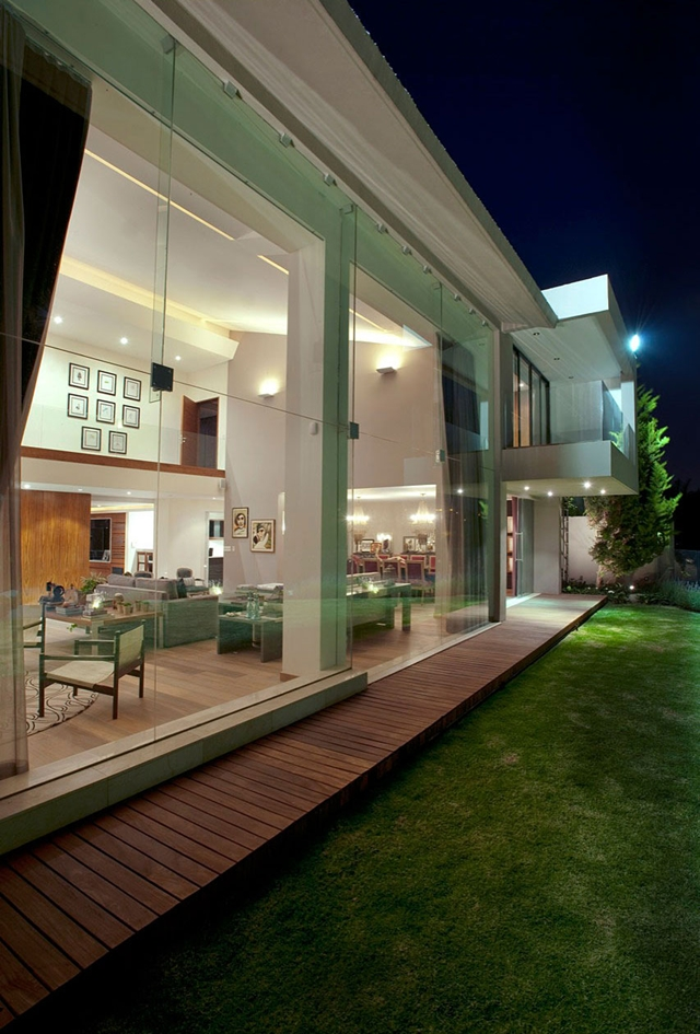 Modern home glass facade as seen from the outside