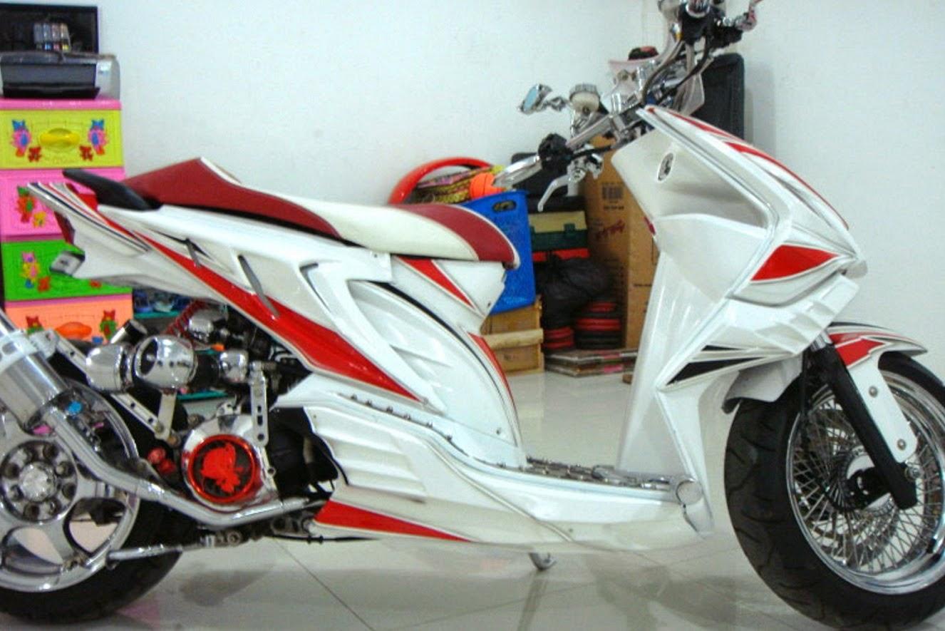 Foto gambar modifikasi motor honda beat fi drag pop 2010 2015 2011 2012 2013 airbrush keren