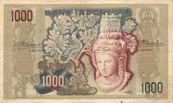 1000 rupiah 1952 depan