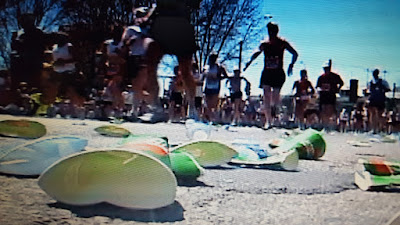 Discarded Gatorade cups from a road race