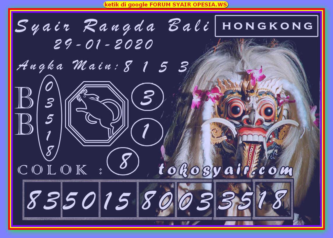 Kode syair Hongkong Rabu 29 Januari 2020 173