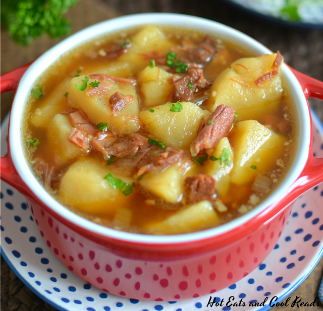 This homemade soup is easy and delicious! It's a great way to use leftovers from Thanksgiving, Christmas or Easter and it will warm you up on a cold fall or winter day! Ham Bone and Potato Soup Recipe from Hot Eats and Cool Reads