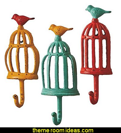 Colorful Bird Cage with Bird - Cast Iron Wall Hooks   birdcage bedroom ideas - decorating with birdcages - bird cage theme bedroom decorating ideas - bird themed bedroom design ideas - bird theme decor - bird theme bedding - bird bedroom decor - bird cage bedroom decor - bird cage lighting