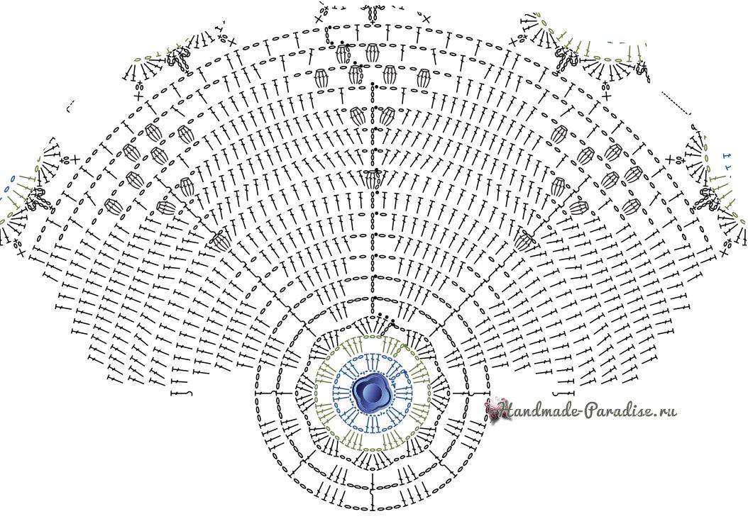 Белая салфетка крючком с голубыми цветами (5)