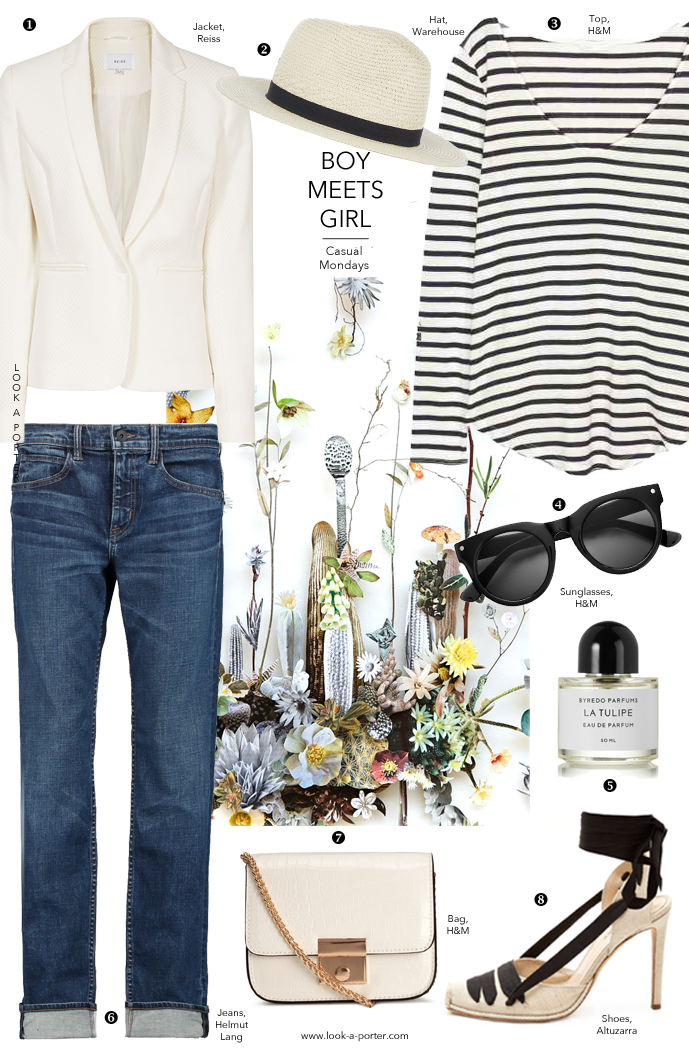 Ways to style boyfriend jeans, white blazer and stripes at www.look-a-porter.com style & fashion blog