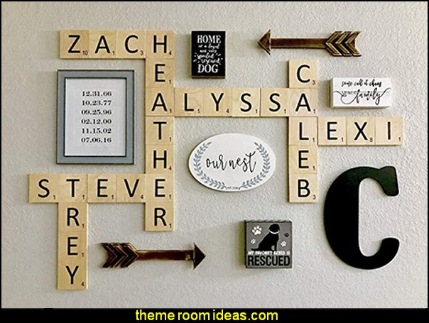 Large Scrabble Tiles  book themed decor - Bibliophiles decor - Book themed furnishings - home decor for book lovers - book themed bedroom - Stacked Books decor - Stacked Books furniture - bookworm decor - book boxes - library furniture - formal study furniture - antique book decor - unique furniture - novelty furniture - Logophile decor - scrabble themed bedroom  - Crossword bedroom decor